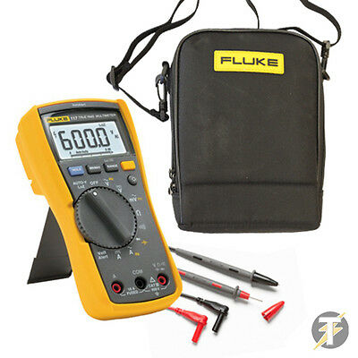 FLUKE 117 True RMS Digital Multimeter KITF, TL175 Test Lead Set, C115 Carry Case