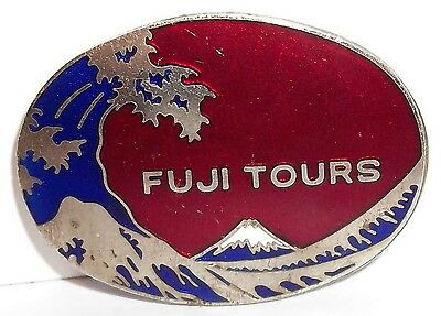 VINTAGE MOUNT MT. FUJI ENAMEL PIN JAPANESE JAPAN TOURIST BADGE NICKEL SILVER ?