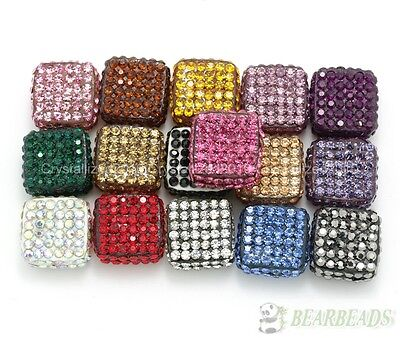 Top Czech Crystal Rhinestones Pave Flat Square Bracelet Connector Charm Beads