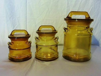 3 Vintage Milk Can Glass Canisters Amber