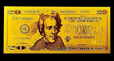 24k Gold **$20** Dollar Bank Note Banknote Bill, Certificate of Authenticity COA