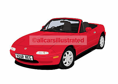 Mazda Mx5/eunos Car Art Print Picture (Size A4). Personalise It!