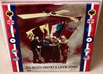 "World WAR I 1 ALLIED poster -The allies want victory"" with flags CERAMIC  TILE"