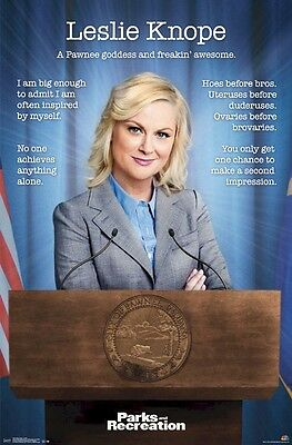 PARKS & RECREATION POSTER ~ LESLIE KNOPE FREAKIN' AWESOME 22x34 TV Amy Poehler