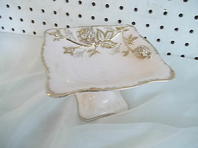 Vintage Royal Sealy Pink Gold Embossed Rose Footed Dish