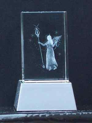 CRYSTAL Laser Block@3D ANGELIC FAIRY@PAPER-WEIGHT@STARS@Etched image@Unique gift