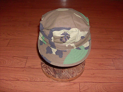 U.S. MILITARY STYLE MARINE CORP USMC  WOODLAND CAMO  HAT/CAP MEDIUM 7 1/4