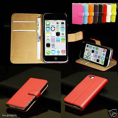 Genuine Real Leather Flip Wallet Ultra Thin Stand Case Cover for Apple iPhone 5C