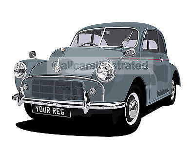 Morris Minor Car Art Print Picture (Size A4). Personalise It!