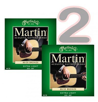 2 x SETS / Packs OF MARTIN ACOUSTIC GUITAR STRINGS EXTRA LIGHT 10 - 47 M170