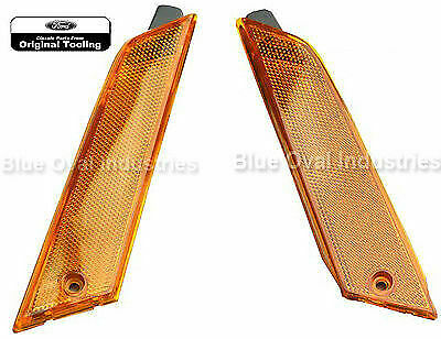 1979-1986 Ford Mustang Front Amber Marker Light Lens & Housing Assembly PAIR
