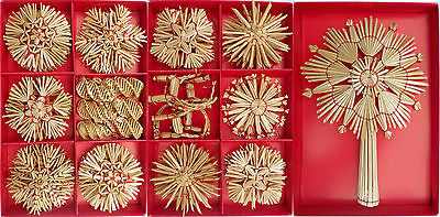 68 Straw Ornaments, Handcrafted Christmas Tree Decoration, Stars Reindeers Cones