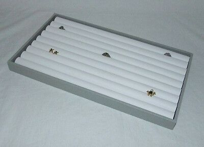 8 Row Ring Display Gray Tray With White Insert For 110+ Rings