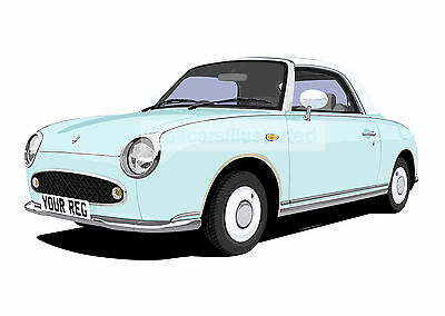 Nissan Figaro Car Art Print Picture (Size A4). Personalise It