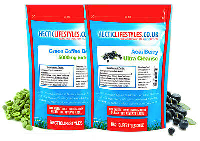 Pure Green Coffee Bean Extract 5000Mg & Acai Berry 2-In-1 Colon Cleanser Combo