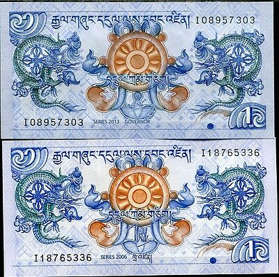 BHUTAN SET 2 PCS of 1 NGULTRUM 2006 2013 P 27 P NEW SIGN UNC