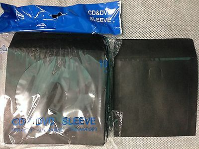 1000 Black Cd Dvd Blu Ray Video Game Paper Sleeve Envelope Clear Window Flap