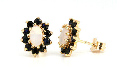9ct Gold Opal and Sapphire Stud Earrings Gift boxed Made in UK