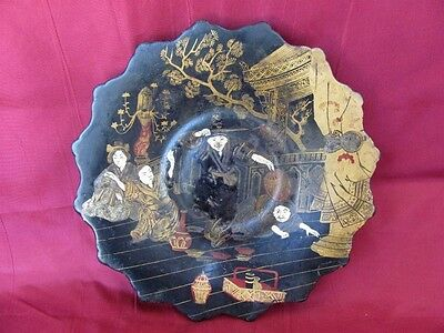 19C. Extremely Rare Antique Japanese Hand Painted Color Lacquer Wooden Plate