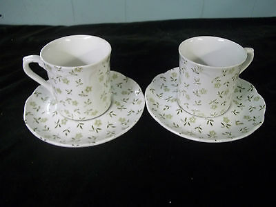 Vintage J & G Meakin England Forget Me Not Green Flat Cup & Saucer lot of 2