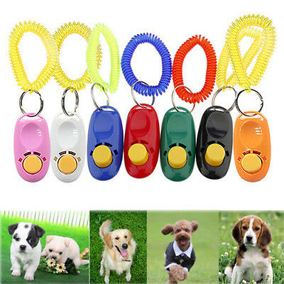 Training Pet Dog Puppy Cat Click Clicker Trainer Teaching Obedience Wrist Strap