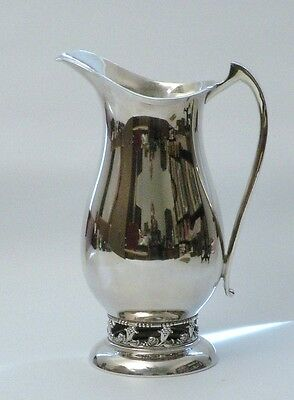 Sheffield Silver Water Pitcher Reticulated Lilies Mid Century Modern