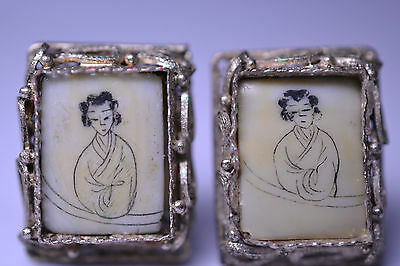 Antique Chinese Filigree Silver  Earrings With Etched & Hand Painted Woman