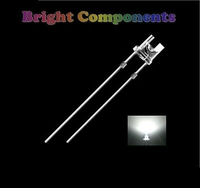 50 x White LED 5mm Flat Top - Wide Angle - Ultra Bright (13000mcd) - New - UK
