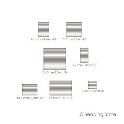 925 Sterling Silver Crimp Beads Cut Tube Bead Beading Various Sizes Packages