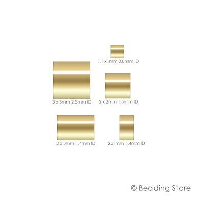 14ct Yellow Gold Filled Crimp Beads Cut Tube Bead Beading Various Sizes Packages