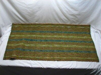 "Vintage Wool Loom Woven Rug 52"" X 27"" Folk Art Area Throw"