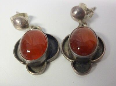 Old Very Fine Sterling Silver Chinese Carved Carnelian Dangle Earrings