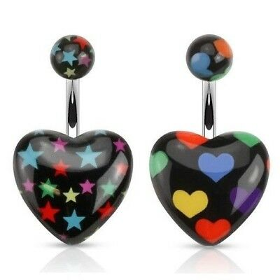BLACK STAR OR HEART RAINBOW PRINTS BELLY NAVEL RING BUTTON PIERCING JEWELRY B746