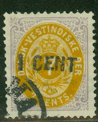DANISH WEST INDIES #14a (23a) 1CENT on 7¢, pr. 1, used, XF, Facit $495.00