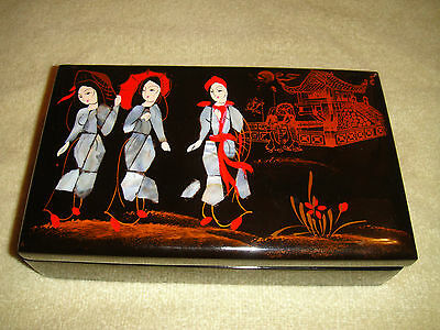 Japanese Chinese Red Lacquer Jewelry Trinket Box-Black Wood-3 Women Front