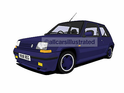 Renault 5 Gt Turbo Car Art Print Picture (Size A4). Personalise It!