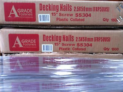 STAINLESS STEEL COIL DECKING NAILS FOR MERBAU SPOTTED GUM TREATED PINE 2.5x50mm