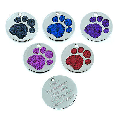 ID Pet Tags Round Glitter Dog Paw Pet Tag Design 25mm- FREE ENGRAVING & FREE P&P
