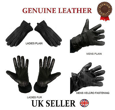 Real Genuine Soft Nappa Leather Quality Black Gloves Gents Ladies Driving Winter