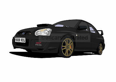 Subaru Impreza Car Art Print Picture (Size A4). Personalise It!