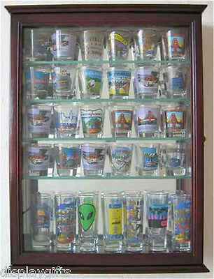 36 Shot Glass Shooter Display Case Cabinet with door, Solid Wood, SCD06B-CH