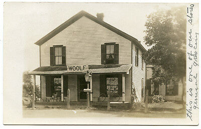 RPPC NY Linden 1909 Woolf General Grocery Store Genesee Co