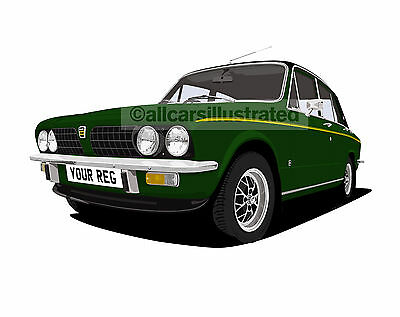 Triumph Dolomite Sprint Car Art Print Picture (Size A4). Personalise It!