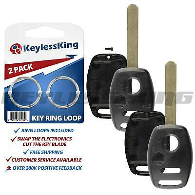 2 New Replacement Keyless Remote Shell Case Fix Key Fob Uncut Blade Cover