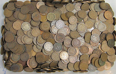 500 Mixed Indian Head Penny Coin Lot (10 Rolls) // Good-Fine+ // 1800's-1900's