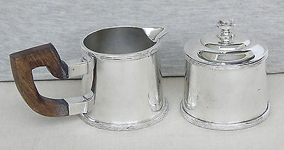 Art Deco Silverplate Set Creamer & Sugar Bowl Rose Wood Handle Artcraft