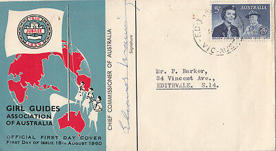 Stamp 5d blue Australian Girl Guides on souvenir cachet cover signed by chief