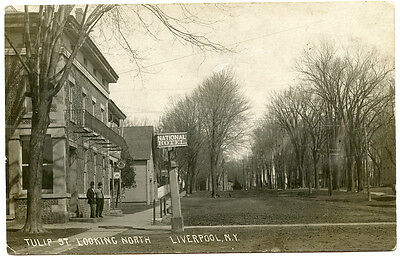 RPPC NY Liverpool Tulip Street Looking North National Hotel Onondaga County