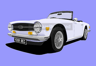 Triumph Tr6 Car Art Print Picture (Size A4). Personalise It!
