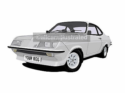 Vauxhall Firenza Car Art Print Picture (Size A4). Personalise It!